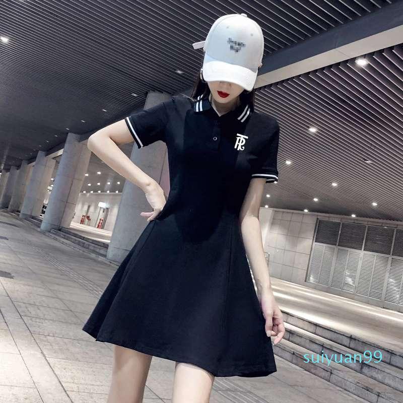 Hot Sale Summer 2020 new slim embroidered skirt TR letters Polo lapel short-sleeved women's dress
