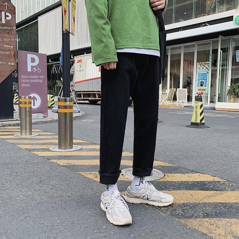 Yw1Cy été d'été mince de neuf points de jeans de style VRjN2 de droits des hommes lâches hommes arraché neuf points tout-match mode coréenne Neuf neuf pantalons J