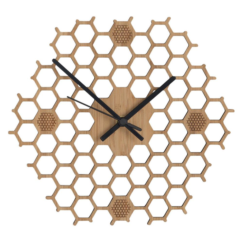 Honeycomb Contemporaneo Regalo durevole non ticchettio Bee Home Decor Orologio da parete di bambù