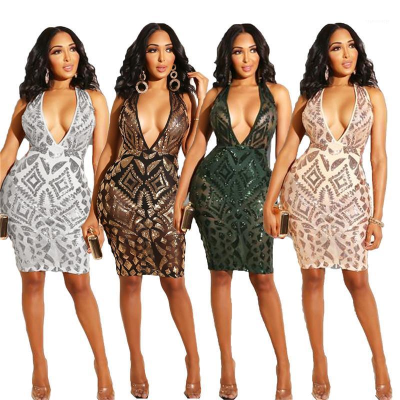 Sequins Kolsuz Bayan dizayn edilmiş elbiseler Casual Dişiler Giyim Seksi Derin V Yaka Günlük Elbiseler Moda Womens