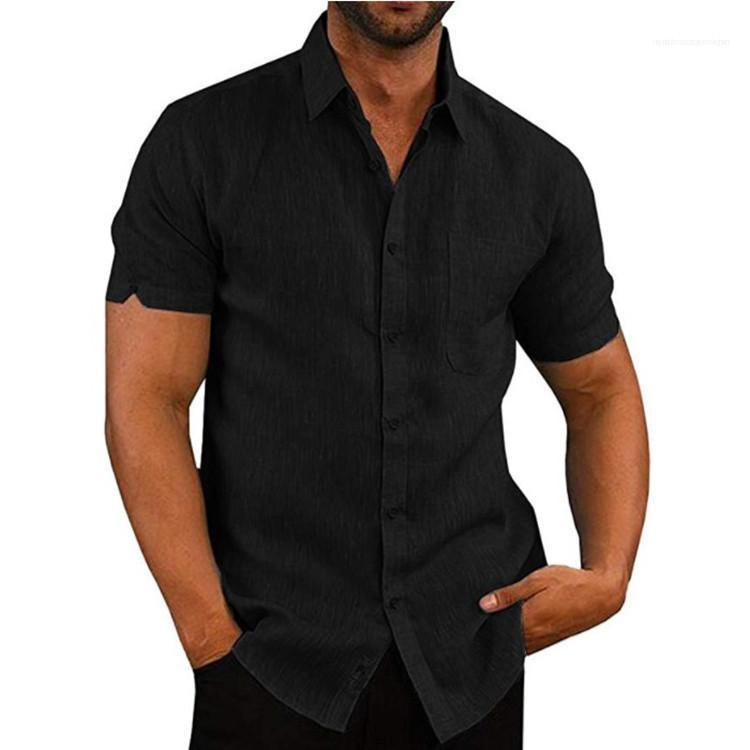 Solid Color Shirts Casual Short Sleeve Lapel Neck Homme Shirts Fashion 20ss New Mens Clothing Mens Designer