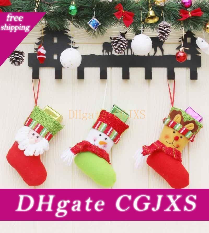 Christmas Socks Santa Claus Elk Candy Gift Bag XMAS Tree Hanging Decor Pendant