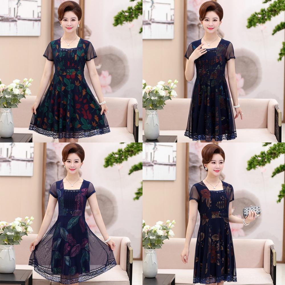 Womens Clothing 2020 Spring Summer New Middle Aged 40 50 Year Old Moms Fashionable Slimming Short Sleeved Lace Lace Formal Dress Dress All Short Evening Dress Designer Evening Dress From Angelbosses 24 13 Dhgate Com