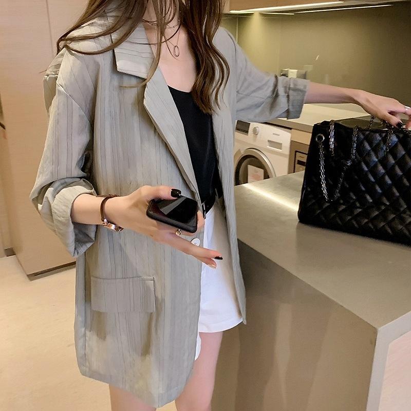 K2aWe 2020 Mantel Kleidung dünn Größe Frauen Kleidung Fett mittellange Temperament Art und Weise mm Mantel lose kleine Sommerklagefrauen oben