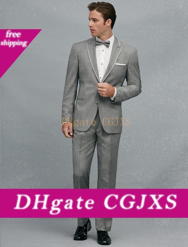 Ternos Custom Made dois botão cinza claro Noivo Smoking pico lapela Groomsmen Mens Wedding Prom (Calças Jacket Cinturão Tie) H300