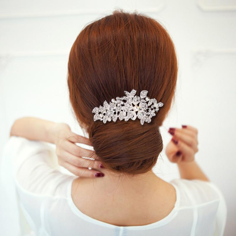 De gama alta moda nupcial Sombrero incrustaciones con diamantes de imitación de aleación de flor peine del pelo Accesorios de boda de imitación perlas tocados