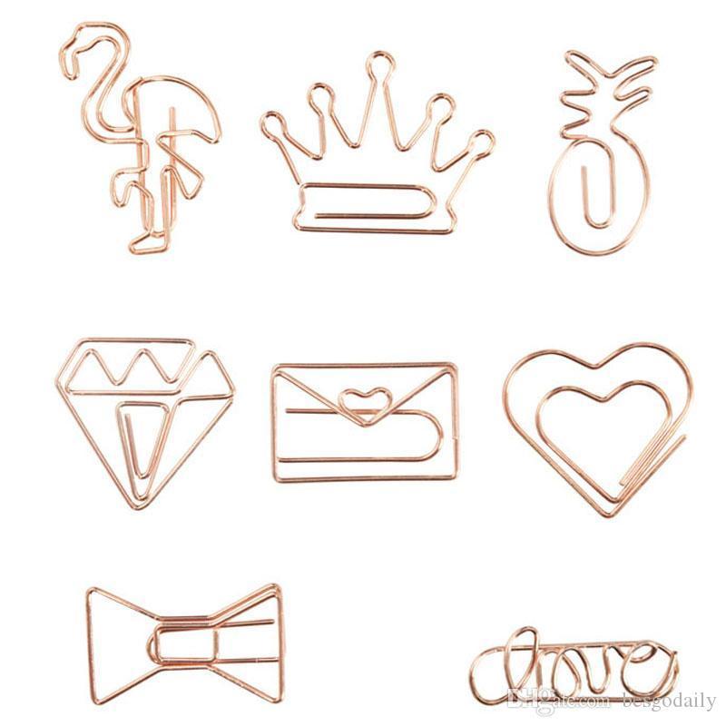 Clips Rose Gold Crown Flamingo di carta di carta creativo di metallo clip Bookmark clip Memo Planner Ufficio Scolastico rifornimenti TQQ BH2529