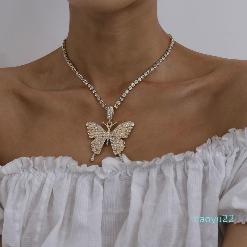 Hot Sale New ins designer de moda popular espumantes strass colar de diamantes pingente de borboleta para mulheres meninas cores prata ouro