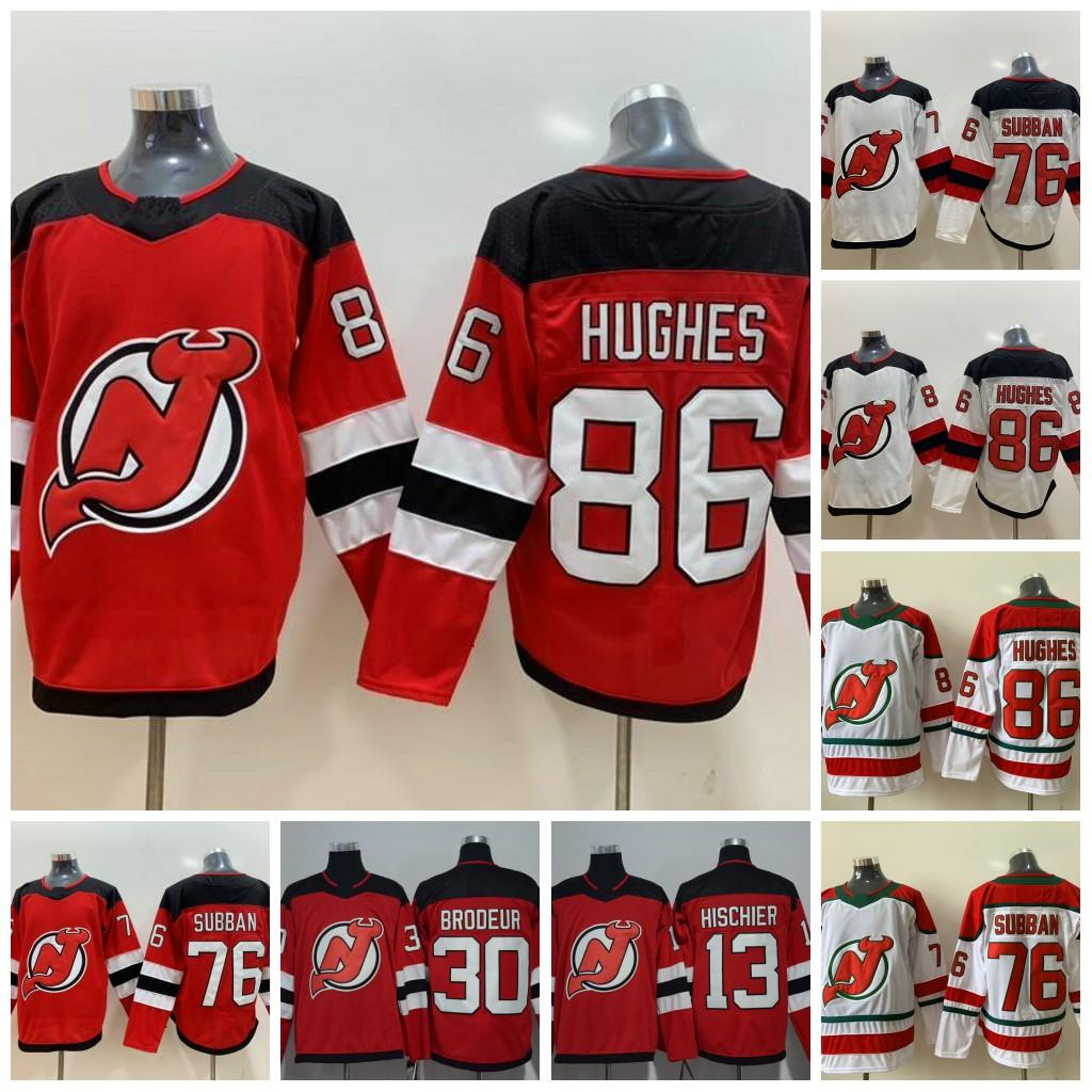 76 п.к. Subban 86 Джек Hughes New Jersey Devils 13 Niko HisChier 35 CORY Schneider Hockey Jersey Instock Двойной сшитый номер имени
