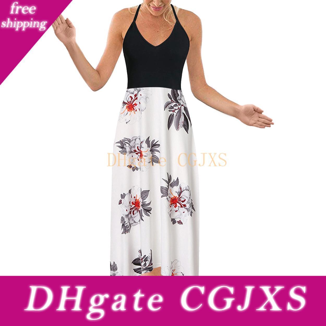 Kadınlar '; S Yaz Derin V Yaka Kolsuz Patchwork Asimetrik Çiçek Maxi Elbiseler