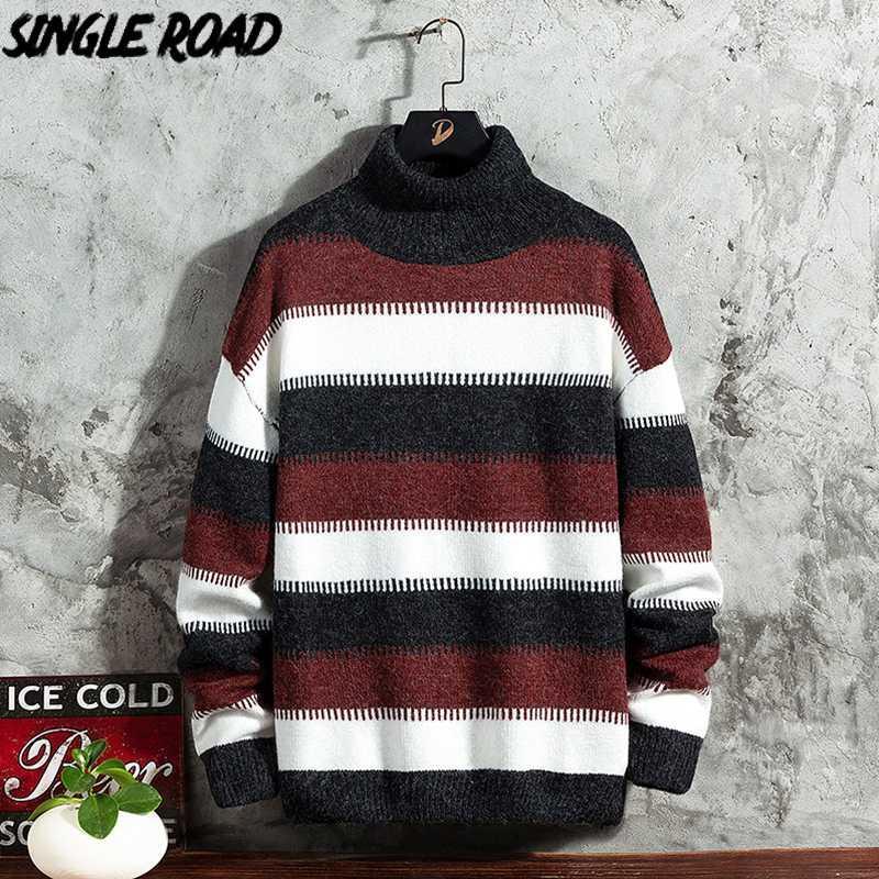 SingleRoad para hombre cuellos altos punto de los hombres 2020 de invierno de cuello alto a rayas suéteres de cuello alto Harajuku Corea del suéter de los hombres Negro