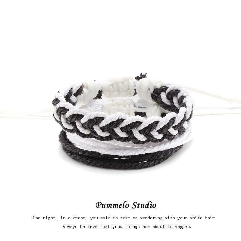 Woven Hand-non-mainstream Linha Design Mão Moda Braceletpummelo simples Normcore Style Bracelete japonês homens e mulheres casal Estudantes Ins
