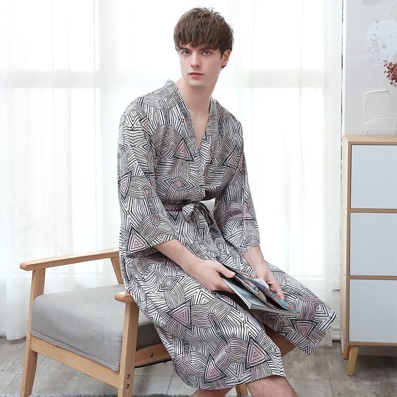 2020 nuevos hombres del kimono de la ropa de noche vestido de satén de dormir amantes Albornoz camisón camisón casual lencería íntima casa Ropa