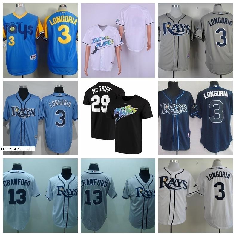 1988 Vintage Baseball 13 Carl Crawford Jerseys 29 Fred McGriff 19 Aubrey Huff 3 Evan Longoria 66 Don Zimmer Blue White Grey Retire