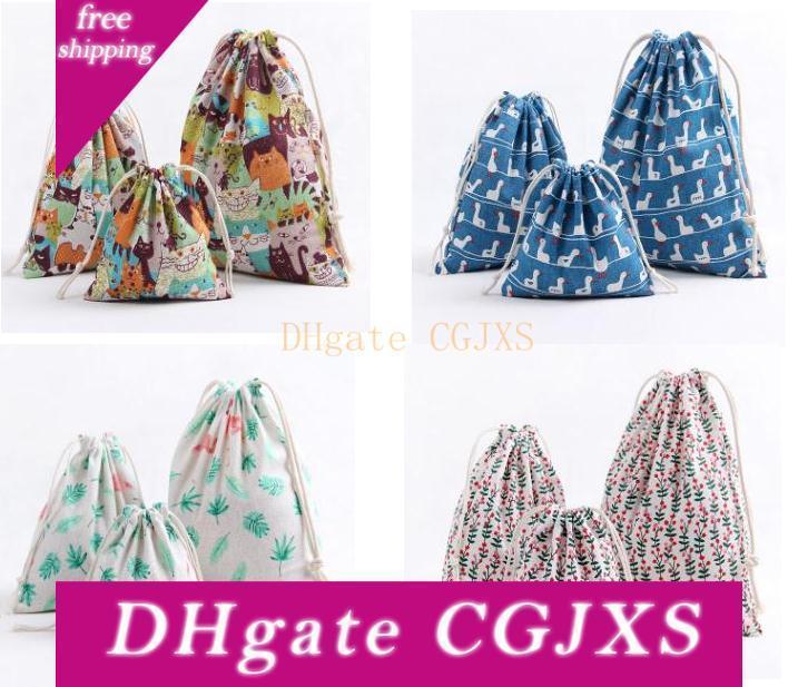 Мульти -Scene портативной сумка для хранения Косметической Orgnizer игрушек сумки хлопок и лен Bundle Карманного Drawstring ткань Путешествие сумки для хранения Sn539