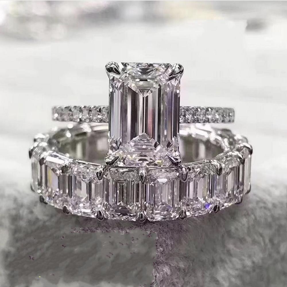 Размер 5-10 Пара Кольца Роскошные ювелирные изделия стерлингового серебра 925 Princess Cut белый топаз CZ Алмазный Бриллиантовые партии женщин Свадебные кольца Set