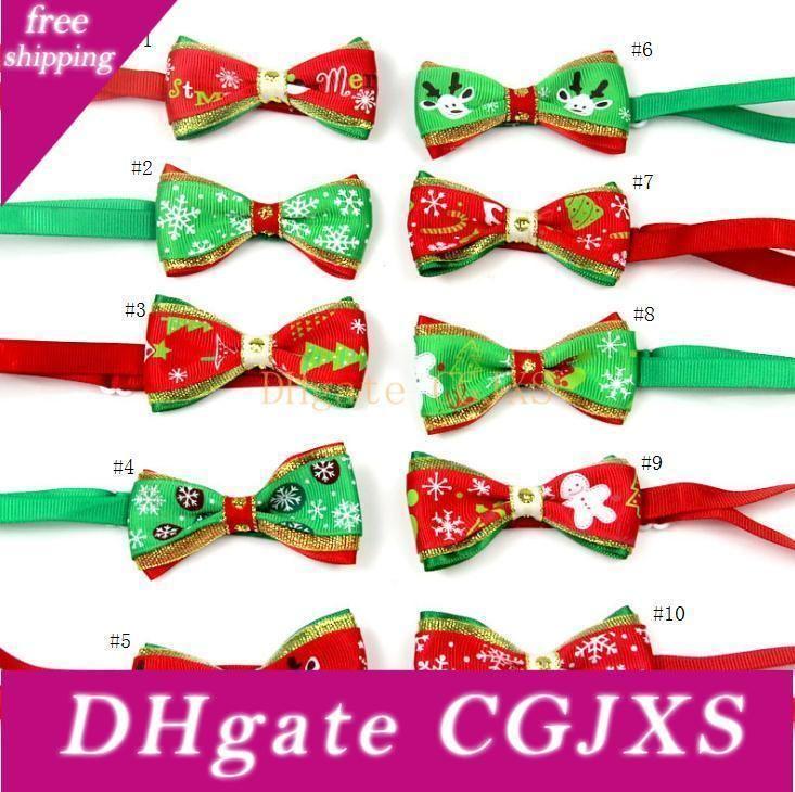 Moda 10 Stil Noel Pet Bow Kravatlar Köpek Tie Köpek Bow Kravatlar Yaka Aksesuarları Kedi fiyonk yaka Ev Pet Ware Sn759