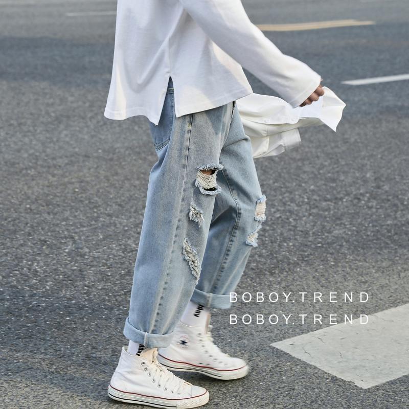 ISqoM PdXsQ Bein Sommer Denim dünnes loses gerade Harajuku gut aussehend Breit trendy Weit Bein Männer Bettler zerrissene Hosen weite Hosen