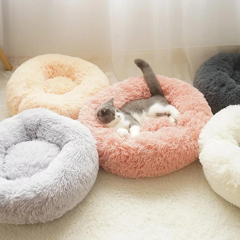 Ev Yumuşak Uzun Peluş Yuvarlak Pet Köpek İçin Kedi Yuvası Kış Sıcak Uyku Yavru Mat Y200330 Yatak