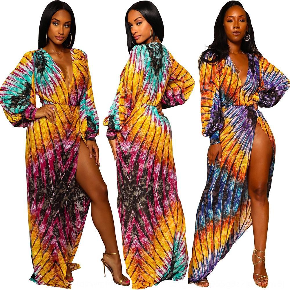 18 nuevo atractivo de la manera del color con cuello en V manga farol contraste A8283 de las mujeres imprimió el vestido vestido de la linterna oG5JU