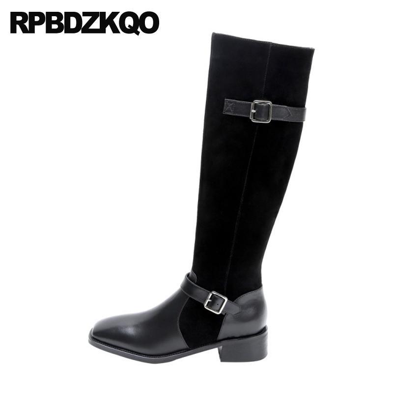 salto alto moda joelho 2020 sapatos preta robusta dedo do pé quadrado 10 tamanho grande botas de mulheres marca de metal inverno couro genuíno de camurça