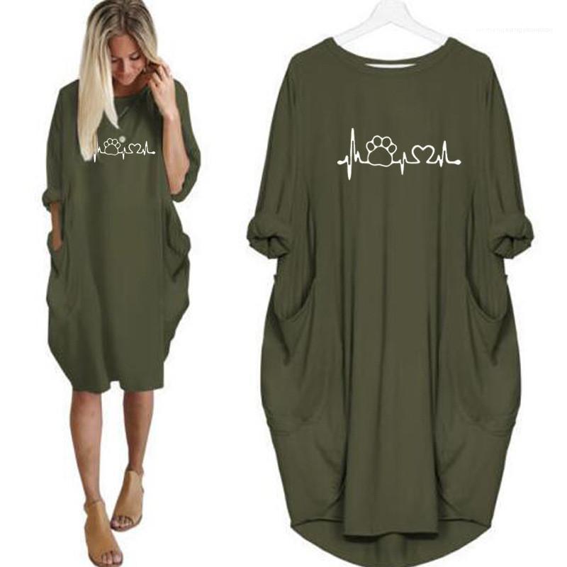 Robe Cat ECG Empreinte Imprimé couleur unie à manches longues Une robe ligne Casual Mesdames Vêtements Femmes Automne Designer Plus Taille 5XL