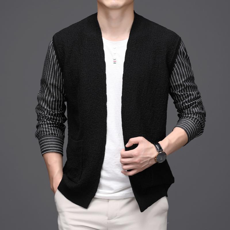 Trendy Stripe Patchwork Cardigan Men novidade Camisa longa da luva Sim Fit Cardigan Masculino Sweater Homens Moda Big Size