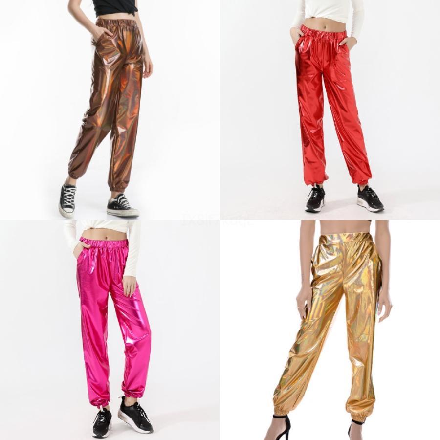 New Fashion Loose Women Pantalons en mousseline de soie mince Femme Pantalon large taille haute jambe Danse Casual Blanc Pantalon Taille Plus S-4XL # 582