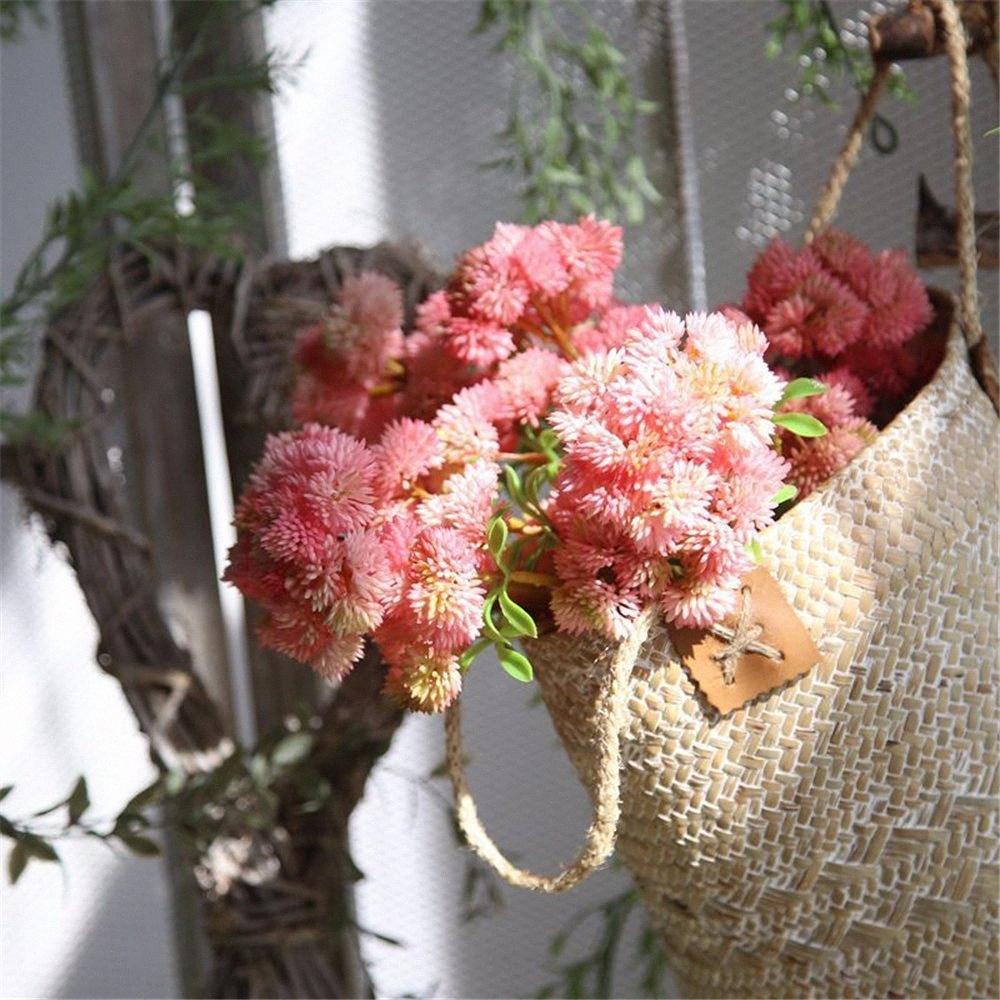 2pcs / lots en plastique artificielle Succulent Fleurs bouquet de mariage Accueil Tables Décoration de fête Faux plantes Chou-fleur fleurs eTfH #