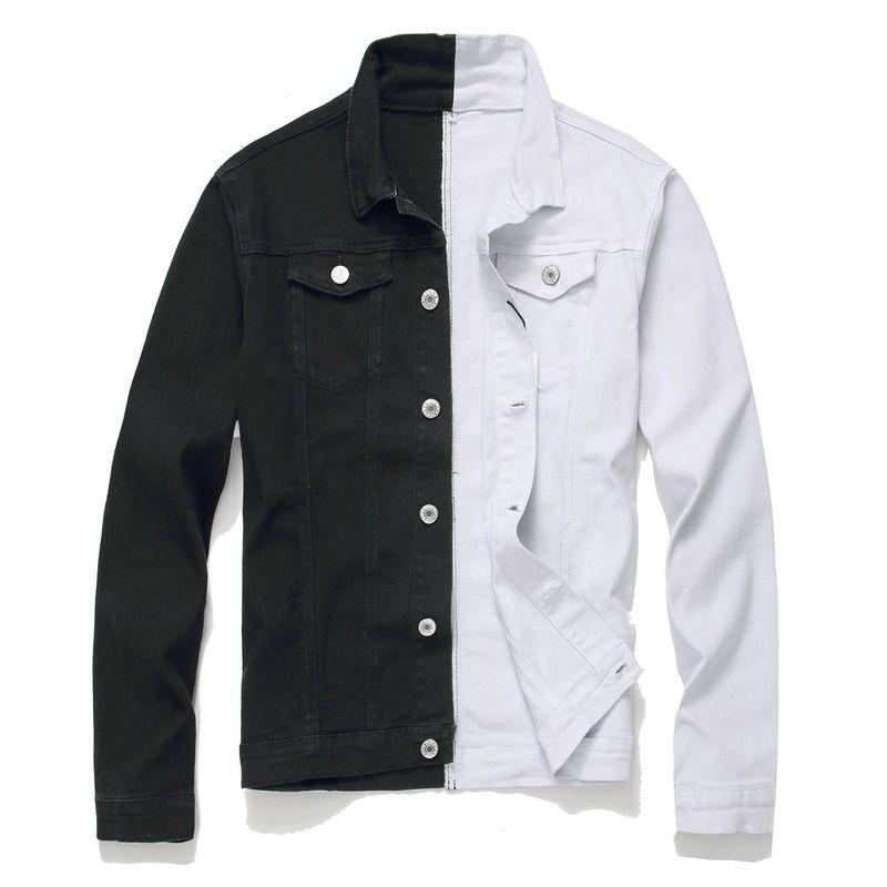 Hip Nuova Giacca di jeans da uomo gioventù Hop uomo in bianco e nero bicolore Slim Jacket Streetwear Slim Mens giacche e cappotti