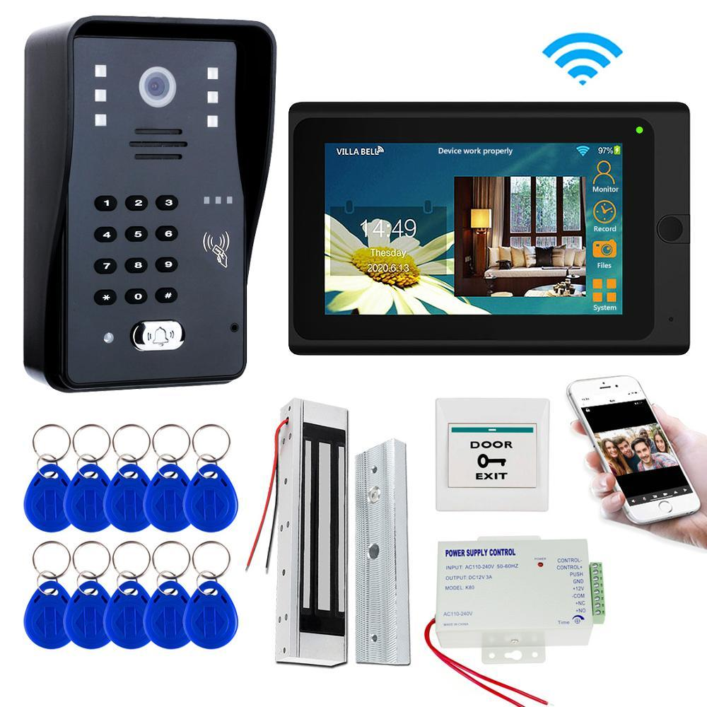 7'' Wifi Video Intercom System Wireless Video Door Phone Doobell Kit Electric Magnetic Bolt Strike Lock, Mobile phone APP Unlock
