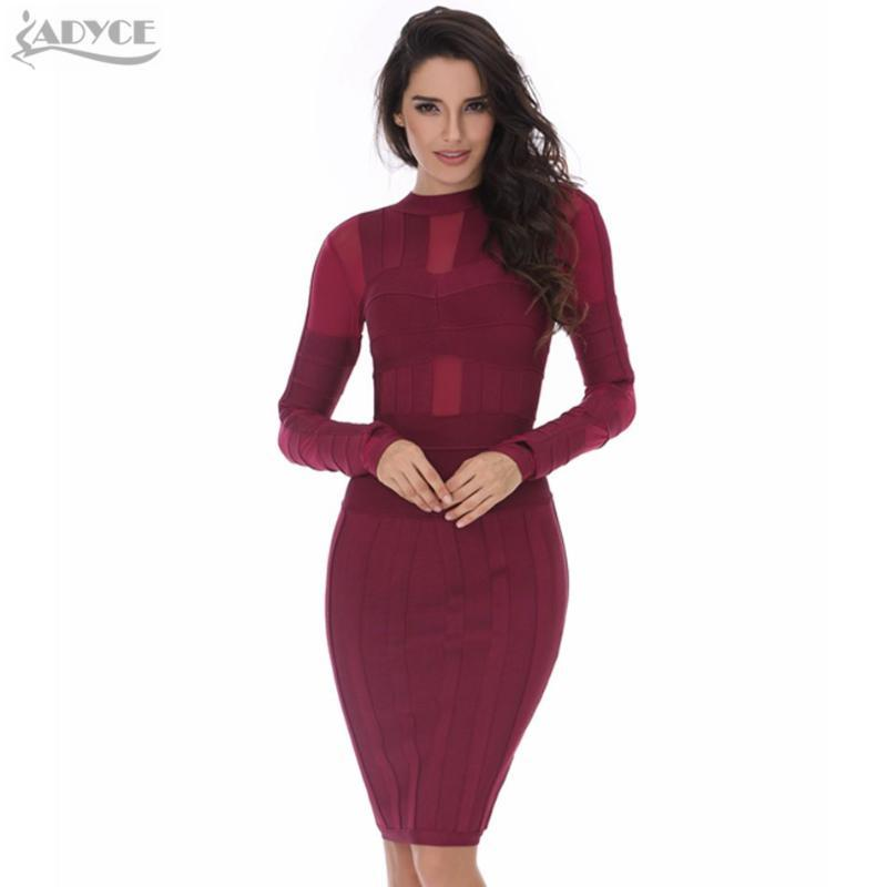 Adyce 2020 New Winter Bandage Dress Women Sexy Bodycon Wine Red Long Sleeve Mesh Club Dress Midi Evening Party Wholesale