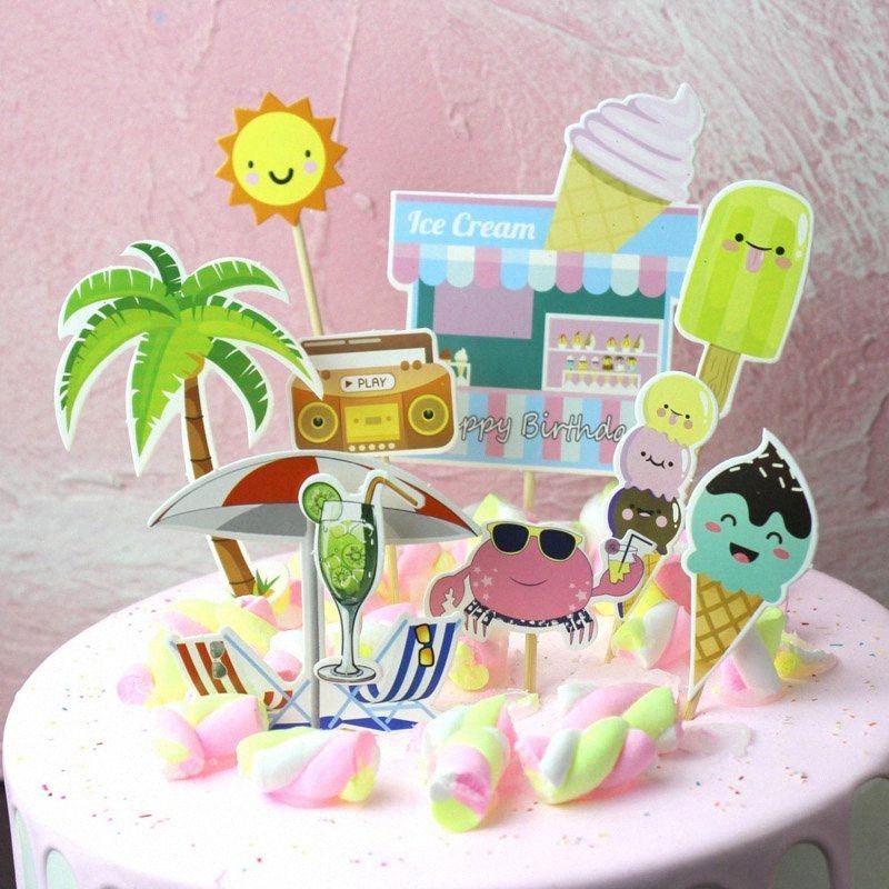 1 Set Cute Summer gelateria Cupcake Toppers fai da te cake topper Picks gelato Topper Wedding Birthday Party Decoration xcCT #
