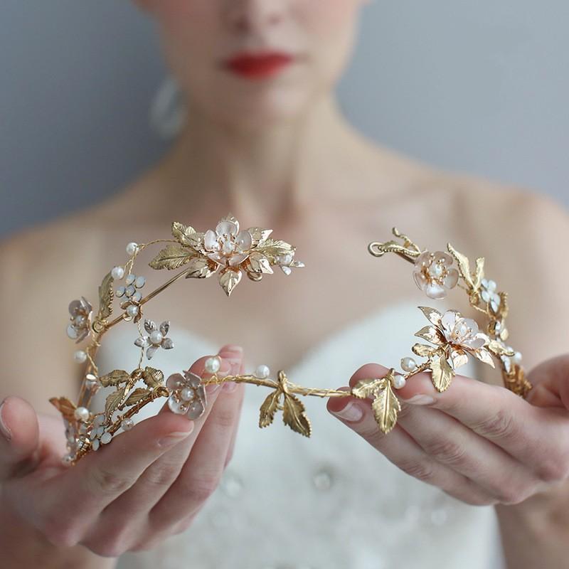 Feuille d'or de mariage floral Tiara cheveux Couronne strass Accessoires main mariée Bandeau femmes Party Coiffe