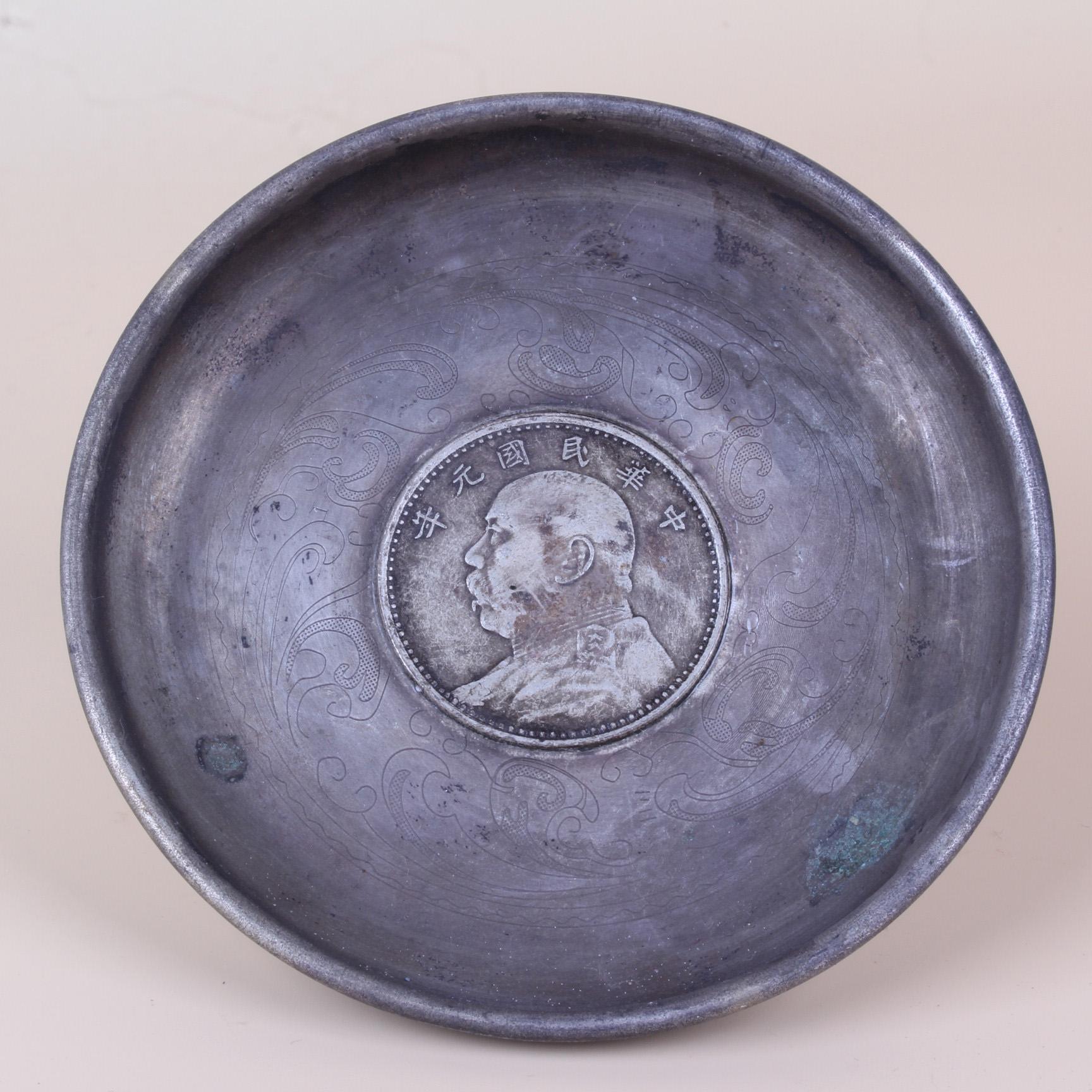 Китайская античная коллекция Мельхиор фото диск Статуя ZJ120