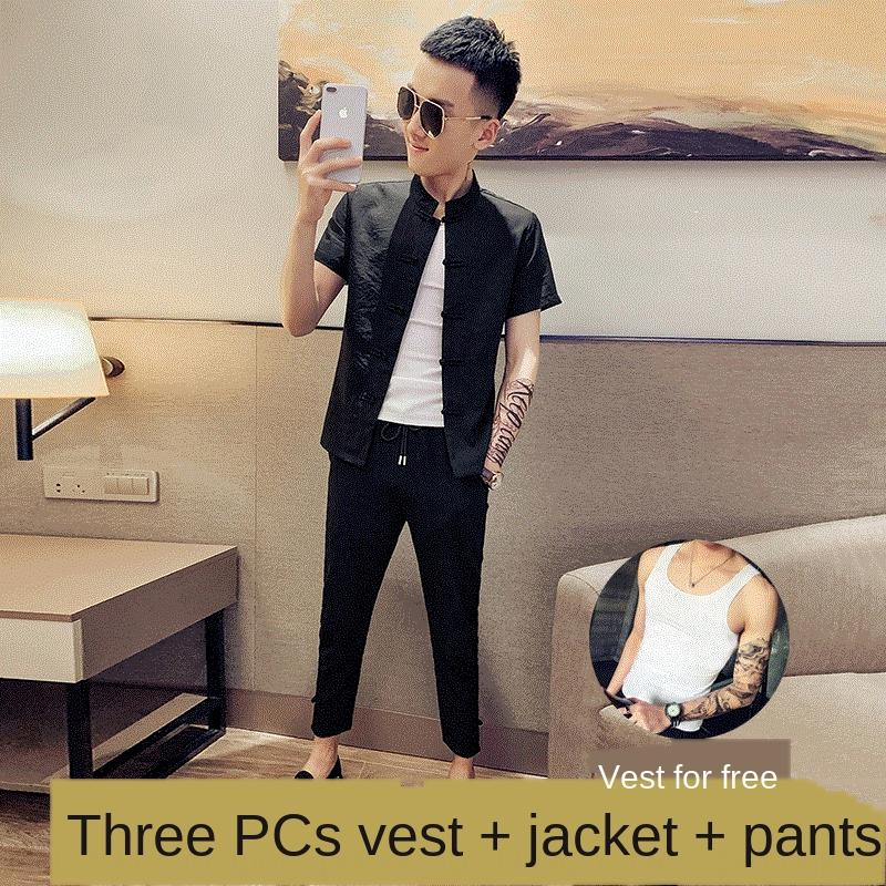 à manches courtes hommes costume chinois Tang style chinois hommes de u8Nb2 d'été rapide mains Internet célébrité esprit jjQKP casualhalf manches sui Tang
