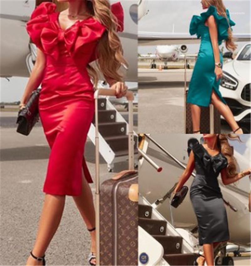 إمرأة مصمم V الرقبة الهيئة غير الرسمية اللباس الصيف نصب منصة مثير قلم رصاص الفساتين القوس سبليت أكمام منتصف العجل الملابس