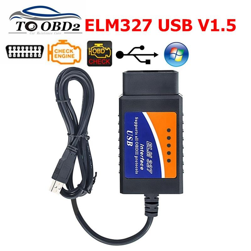 ELM327 V1.5 USB PL-2303HX Chip OBDII Car Diagnostic Interface Scanner Elm 327 1.5 Supports most OBDII protocols Diagnostic Tool