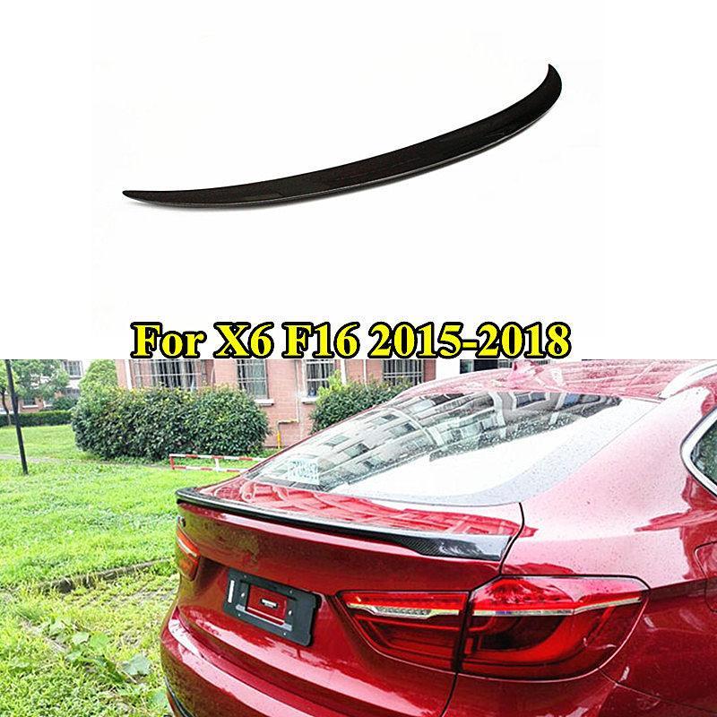1 adet En kaliteli Tampon Gerçek Karbon fiber Arka Spoiler İçin B M W X6 F16 2015-2018 Araç Aksesuarları Gövde dudak kanat