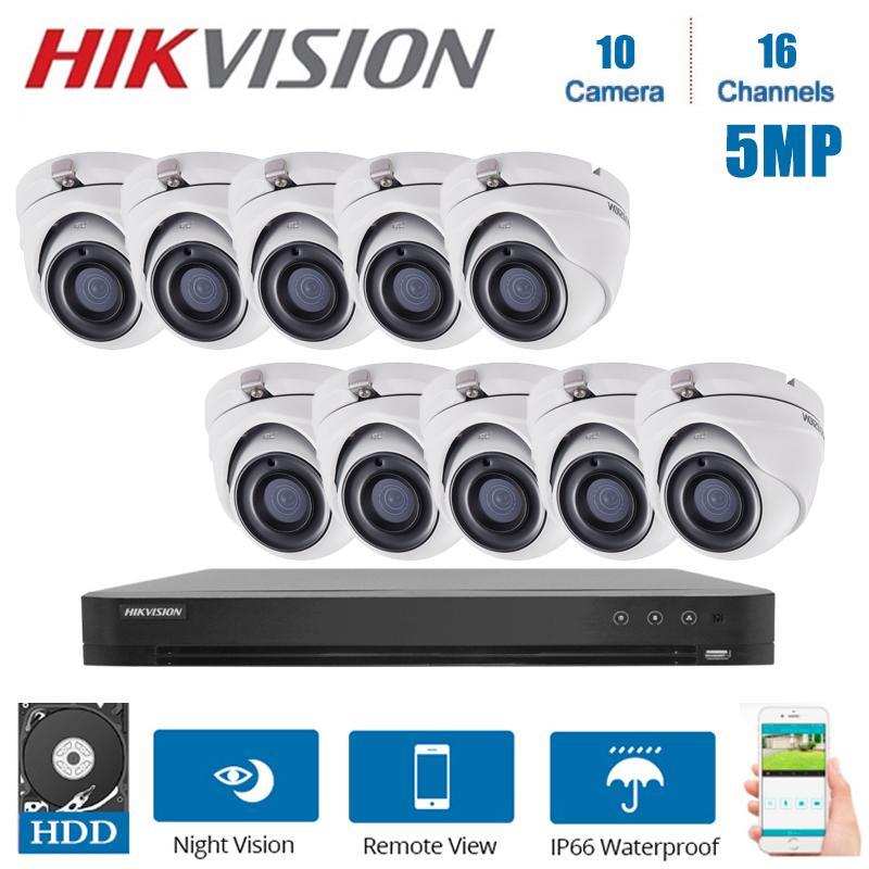 Réseau Hikvision DVR 16 canaux vidéo Kits de surveillance avec 10PCS 5MP caméra de sécurité de vision nocturne CCTV Kits Système de sécurité