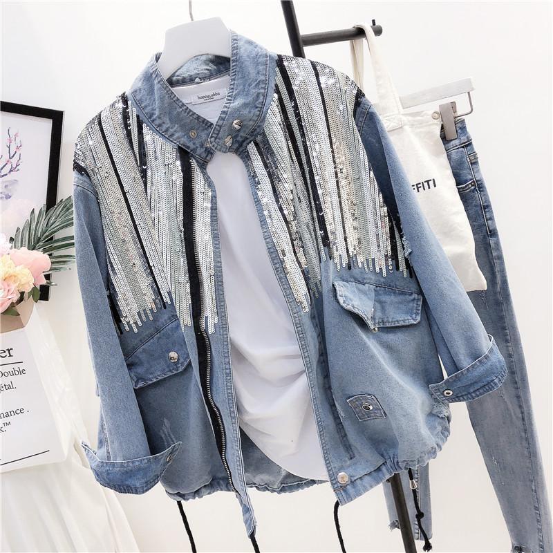 Spring New Designer Denim 2020 Damen Harajuku Lose Pailletten Jeansjacke Frauen Basic Coat Casual Streetwear