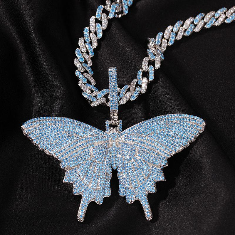 Azul AAA + Cadena de circonio cúbico Pave Bling de hielo fuera de la mariposa de los colgantes del tenis cubano Hombres Mujeres Hip Hop Rapper joyería