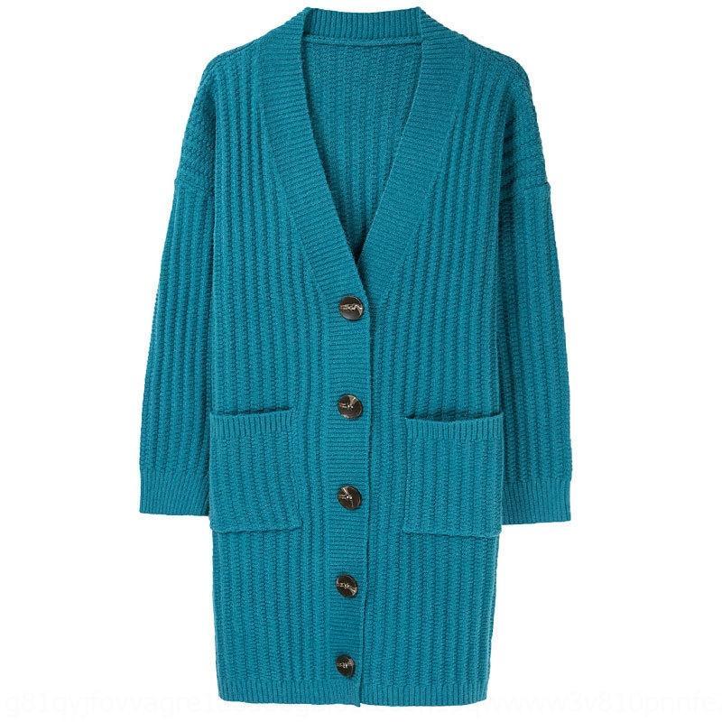 Y7A4v Frauenwolljacke Frühling und Herbst Mantel Mantel Pullover koreanische Art lose Oberbekleidung Pullover Oberbekleidung mittellangen Herbstkleidung 2020 N