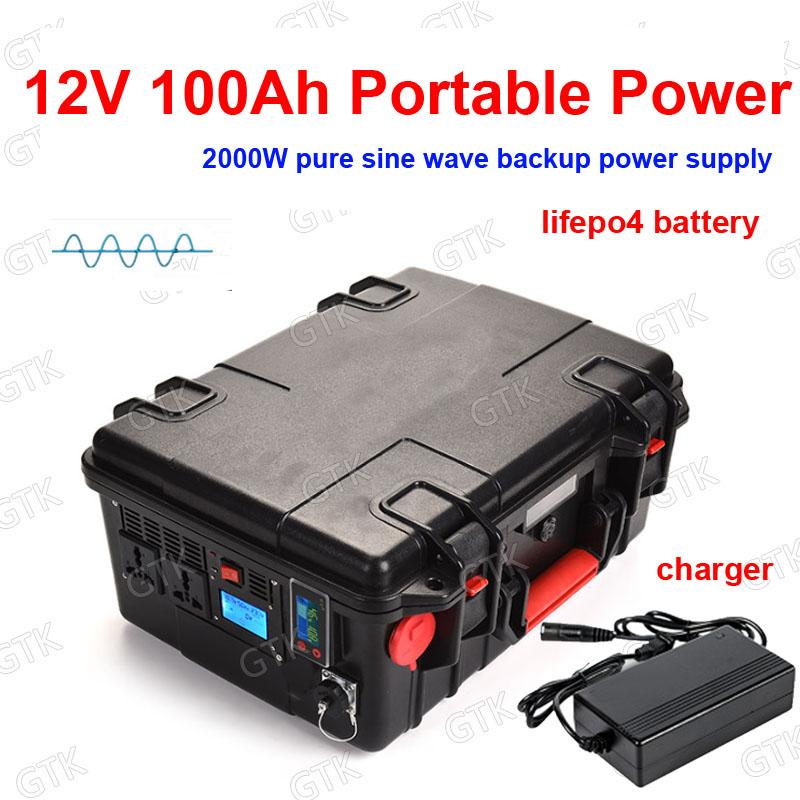 Portable generator 1200Wh peak 2000W pure sine AC 110V 220V Lifepo4 12V 100AH lithium battery camping power supply + 10A charger