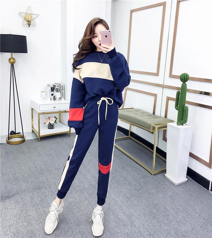 WaJ1I Felpa sottile vestito a due pezzi molla e lo stile per studentesse casuale coreana Modo di autunno allentato nyEk7 felpa tuta 2020