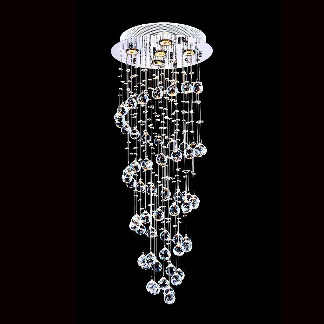 Modern K9 Crystal Spiral Raindrop Chandelier Lighting Flush mount LED Ceiling Light Fixture Pendant Lamp for Dining Room Bedroom Livingroom