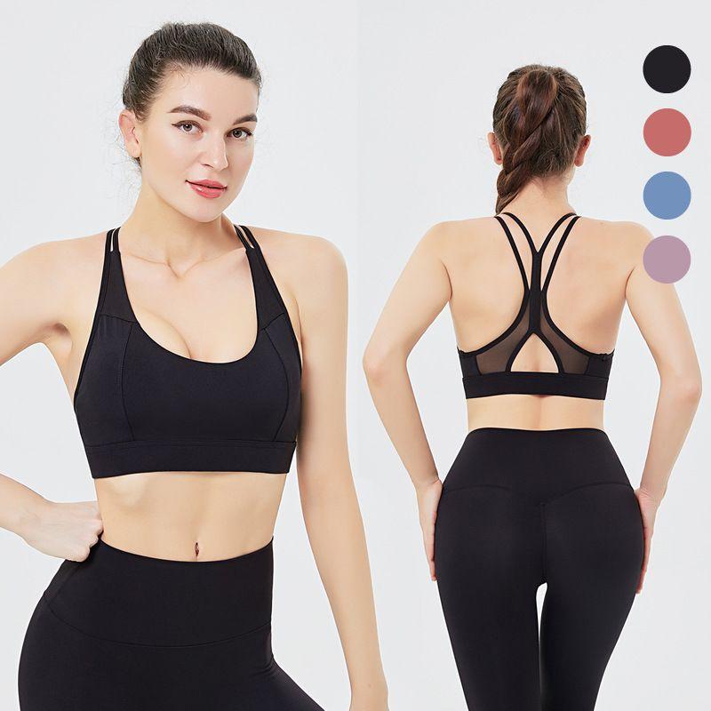 Sports Sous-vêtements Femmes Gaze Joint Spaghetti Strap -Résistant Soutien Beauté Fitness Retour Soutien-gorge push up Veste de Yoga