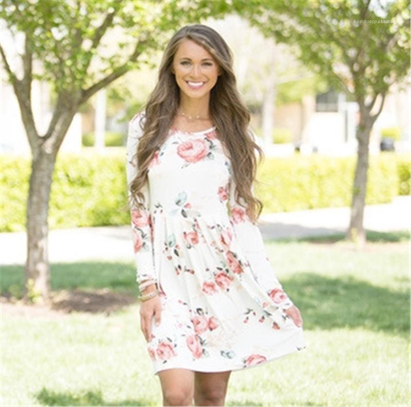 Moda Kadın Günlük Elbise Tasarımcı Kadın Flora Baskılı Elbise Uzun Kollu Yaz Elbise