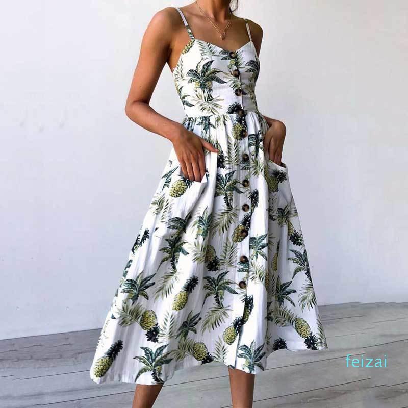 Sıcak Satış Yaz Ayçiçeği Kadınlar Plus Size Kayma Tatil Çiçekli Elbise Midi Çiçek Şık Rahat pantolonlar XXL XXXL Sarı Baskı