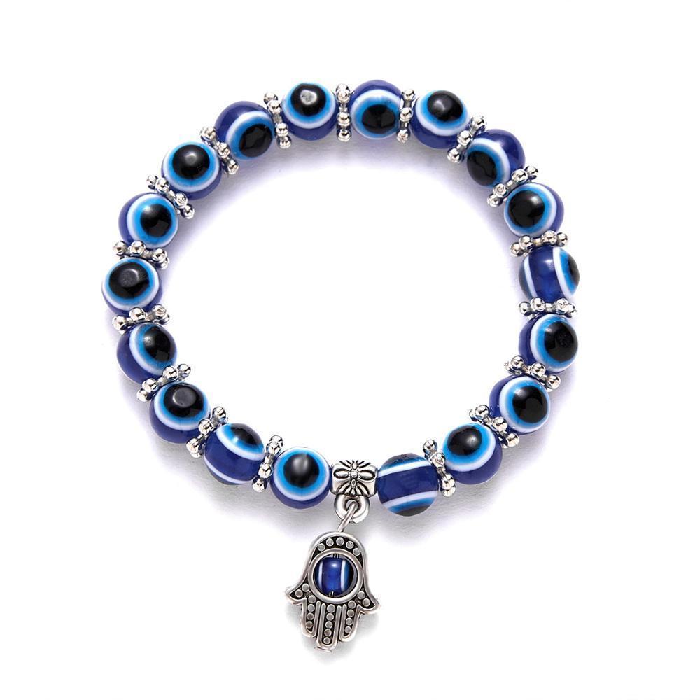 Rinhoo turcos Ojos pulseras para pulseira Pareja partido de la joyería afortunada elástica Las mujeres de cuentas azules mal de ojo del grano de palma pulsera del encanto
